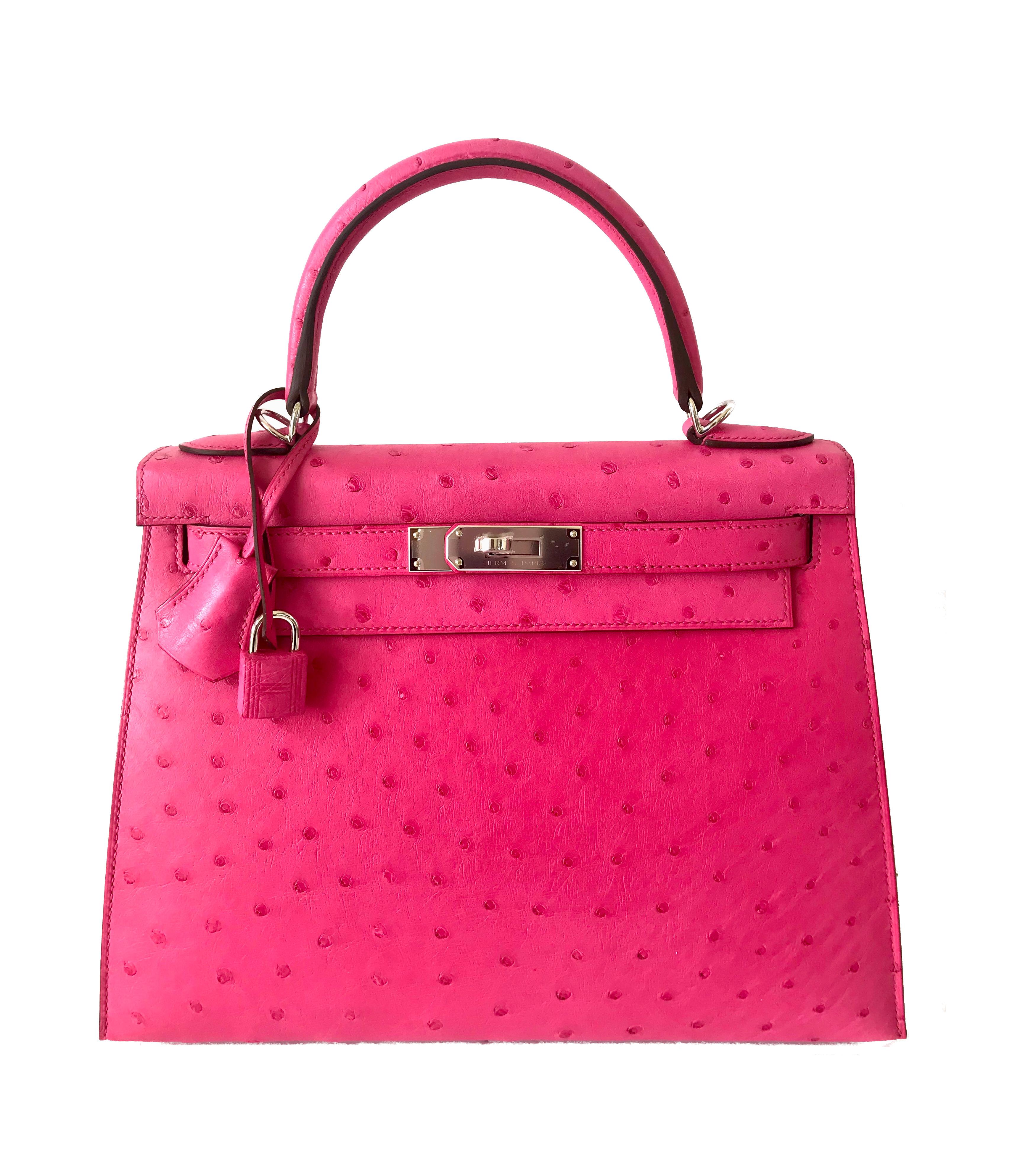 Palladium Saint Louis: AAA Replica Kelly Bag 28cm Rose Tyrien Pink Ostrich