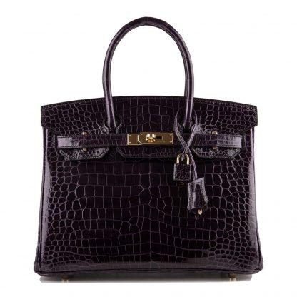 67efbd3be0dd Cheap Birkin Bag 30cm Aubergine Porosus Crocodile Gold Hardware Glendale