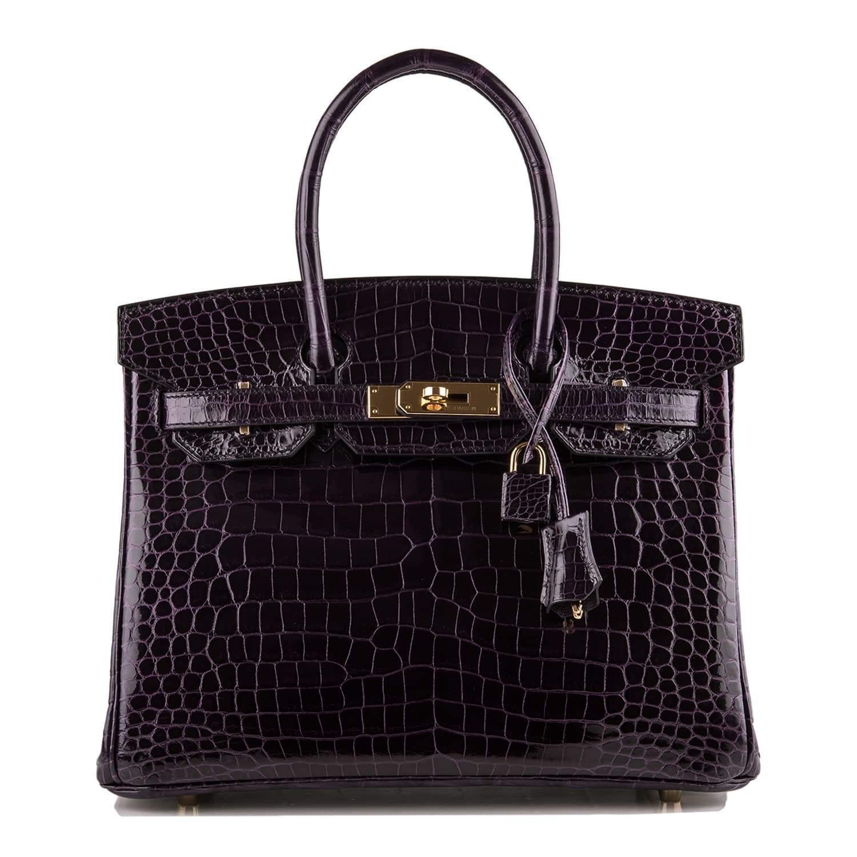 3ca6eca2a5e Cheap Birkin Bag 30cm Aubergine Porosus Crocodile Gold Hardware ...