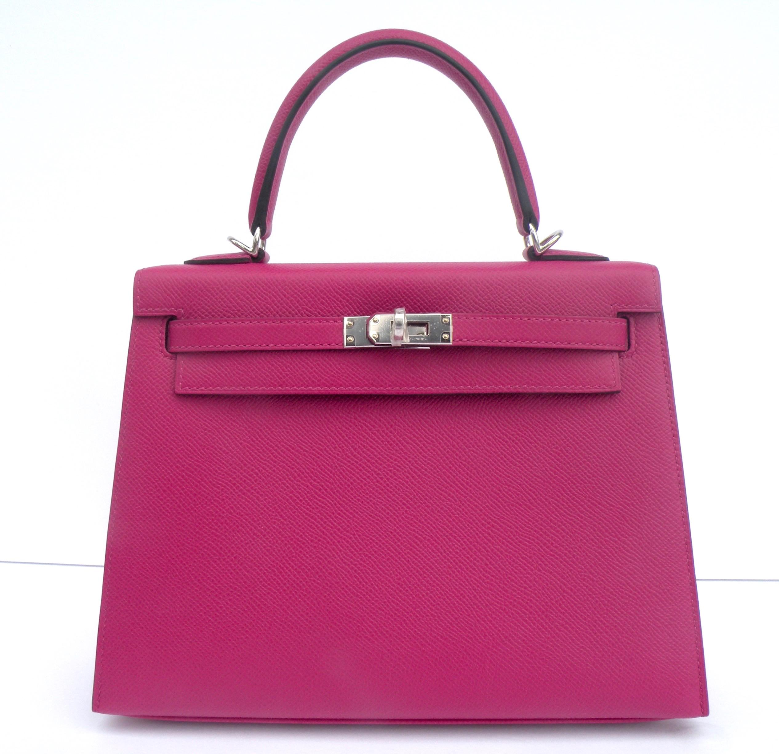 0c7dddfbe60 Discount Kelly Bag 25cm Rose Pourpre Pink Epsom Palladium Hardware ...