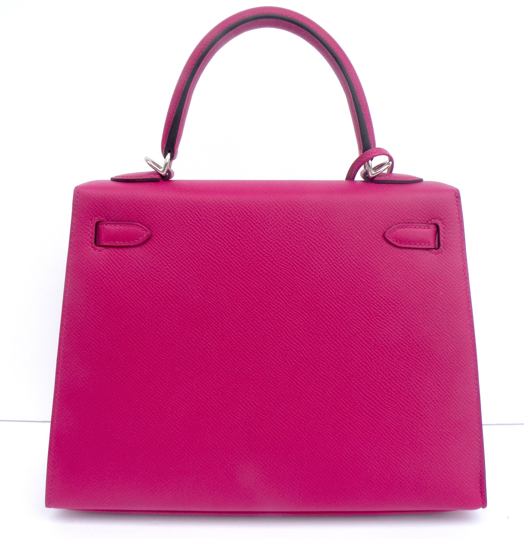 d68a173bdd2 Discount Kelly Bag 25cm Rose Pourpre Pink Epsom Palladium Hardware ...