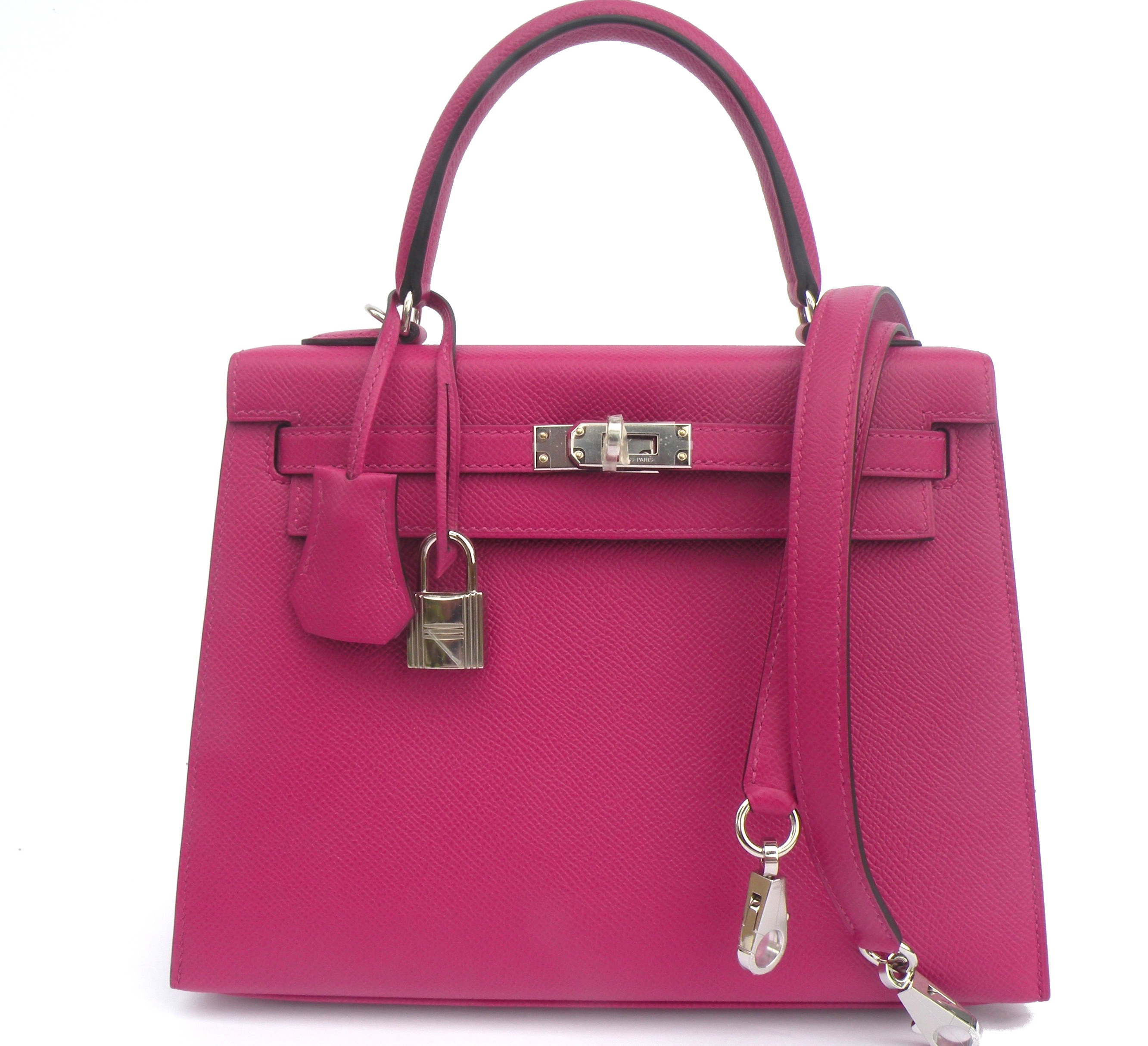 e6e18e94e7 Discount Kelly Bag 25cm Rose Pourpre Pink Epsom Palladium Hardware ...